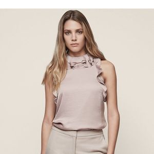 Reiss Dallas Ruffle Trim Top Sz4 Ash Pink